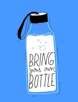 Bring your own bottle text on reusable water bottle poster to reduce single use of paper cups