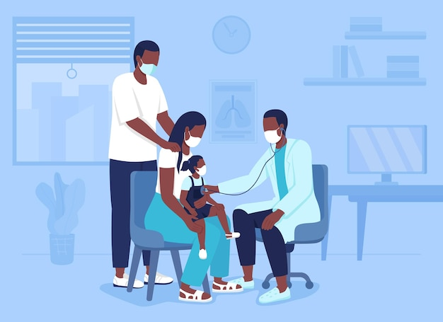 Bringing child to hospital appointment flat color vector illustration. mother and father presenting during consultation with pediatrician 2d cartoon characters with doctor office on background