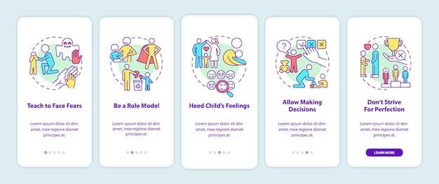 모바일 앱 페이지 화면에 온보딩 팁을 제공합니다. 아동 정신 건강 안내 개념이 포함된 5단계 그래픽 지침. 선형 컬러 일러스트레이션이 있는 ui, ux, gui 벡터 템플릿
