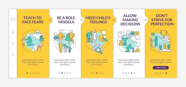 팁 노란색 온보딩 벡터 템플릿을 가져옵니다. 아이콘이 있는 반응형 모바일 웹사이트입니다. 웹 페이지 연습 5단계 화면. 선형 삽화가 있는 아동 정신 건강 색상 개념