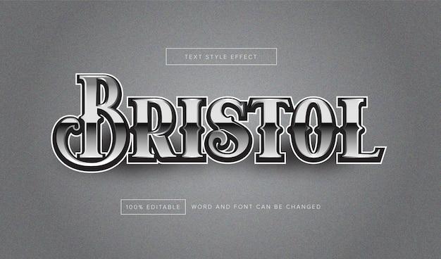 Bristol silver text effect editable