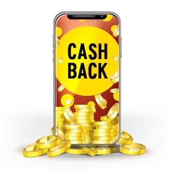 Мобильный телефон brite screen с набором золотых монет и кешбеком. шаблон для оформления макета банка, игры, мобильной сети или технологии, бонусы за джекпот