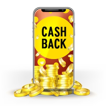 Brite screen mobile phone with a set of gold coins ang cash back. template for design layout bank, game, mobile network or technology, bonuses for jackpot