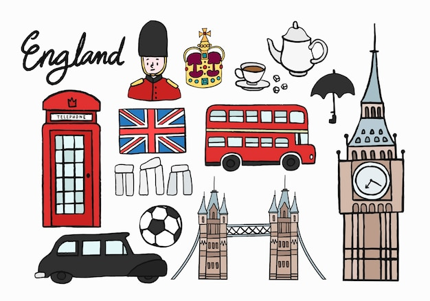 British cultural icons set illustration