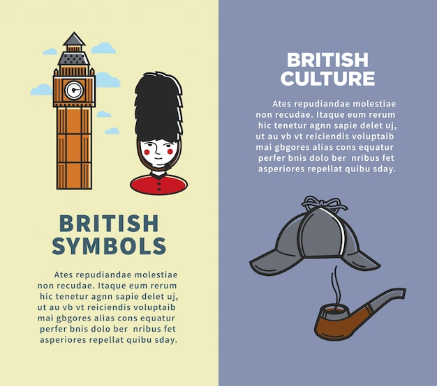 British culture and symbols on vertical brochures set