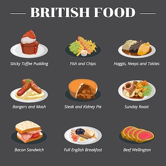 British english food  set collection  clipart
