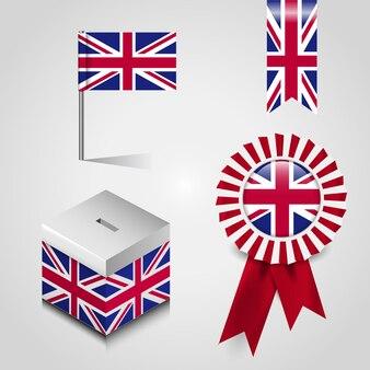 British falg design icon set vector