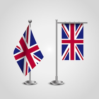 British flag set with flag stand vector