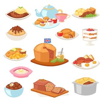 イギリス料理の英国式朝食の食事と白い背景の上のイギリスのレストランで伝統的な料理のディナーやランチのイラストセットのジャガイモと揚げ肉