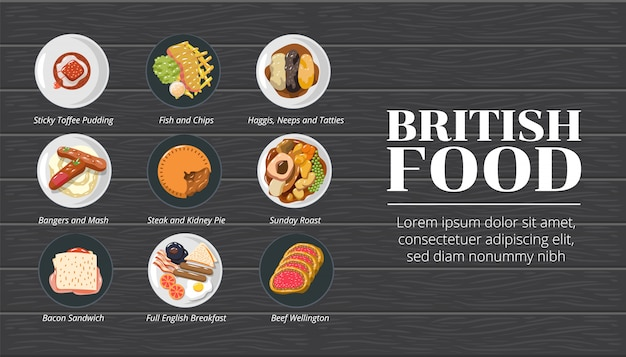 British food vector set collection graphic clipart design