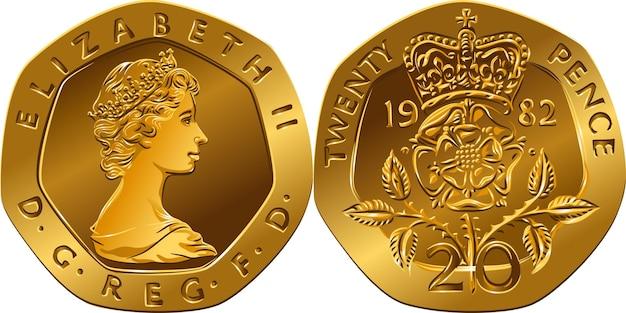영국 화폐 금화 20펜스, 뒷면에는 왕실 방패 부분이 있고 앞면에는 여왕이 있습니다.