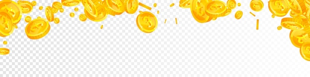 British pound coins falling. classic scattered gbp coins. united kingdom money. delightful jackpot, wealth or success concept. vector illustration.