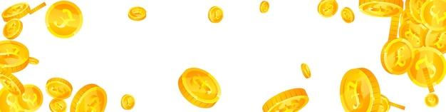 英国ポンド硬貨が落ちています。かわいい散らばったgbpコイン。英国のお金。雄大な大当たり、富または成功の概念。ベクトルイラスト。