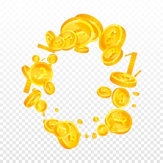 英国ポンド硬貨が落ちています。感情的に散らばったgbpコイン。英国のお金。創造的な大当たり、富または成功の概念。ベクトルイラスト。