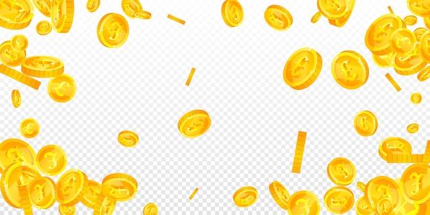 英国ポンド硬貨が落ちています。素敵な散らばったgbpコイン。英国のお金。美しい大当たり、富または成功の概念。ベクトルイラスト。