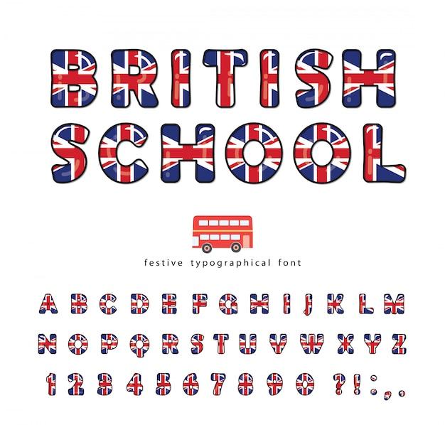 British school font, great britain uk national flag colors.