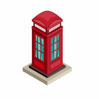 British telephone booth in isometric