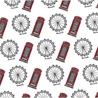 Британская телефонная будка с панорамным колесом