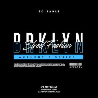 Brklyn 라인 스타일 스트리트 패션 텍스트 효과 편집 가능한 프리미엄 벡터