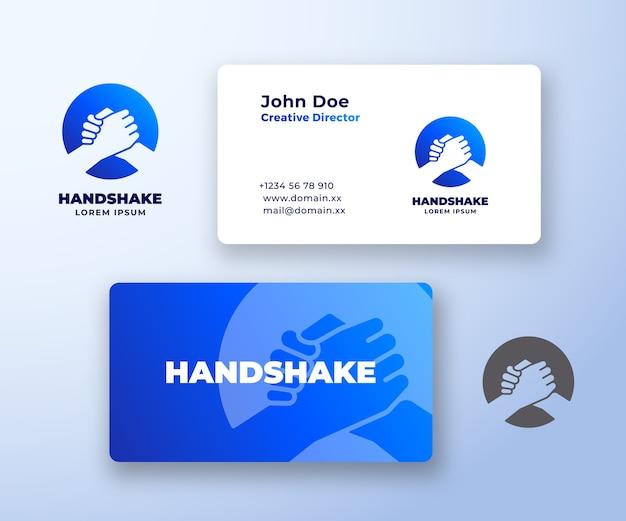 Бро рукопожатие абстрактный логотип и шаблон визитной карточки.