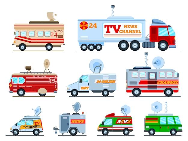白い背景で隔離のライブニュース技術自動車の速報のアンテナ衛星メディアとテレビトランスポートイラストセットと車のテレビ車両放送バンを放送します。
