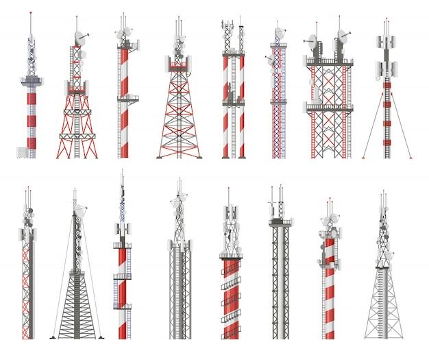 방송 기술 타워. 통신 안테나 타워, 무선 라디오 신호 국. 셀룰러 네트워크 타워 그림 아이콘을 설정합니다. 무선 신호 탑, 무선 방송