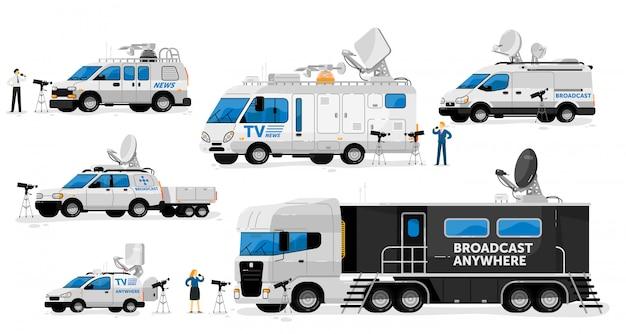 방송용 밴. 방송 전송 세트. 텔레비전 채널 밴, 자동차, 트럭, 라이브 뉴스 정보 방송 수집을위한 위성 안테나가 장착 된 자동차. 카메라 기자보고