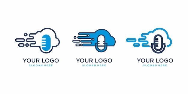 ブロードキャストクラウドロゴ、ネイティブクラウドロゴ、ポットケースロゴ、テクノロジーロゴ