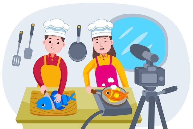 Broadcasting live event with chef cooking