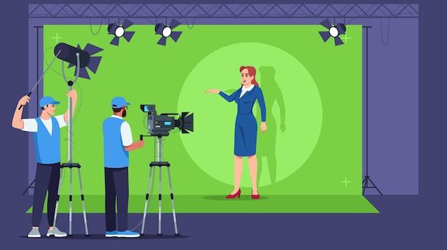 放送セミ。テレビスタジオのインテリア。コンテンツ作成のためのプロ仕様の機器。ライブビデオ。ニュース速報