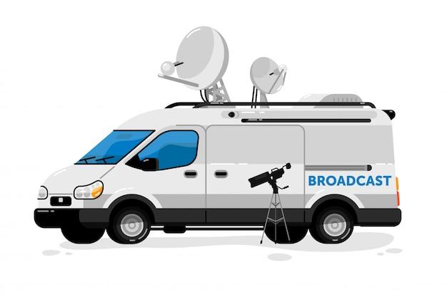 Broadcasting van.  media broadcasting