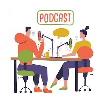 Люди записывают подкаст в студии. радиоведущий берет интервью у героев мультфильмов радиостанции. молодой диджей, мужчина и женщина с микрофоном говорить. broadcasting. плоская иллюстрация
