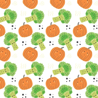 Брокколи и образец тыквы. овощной бесшовные оранжевый зеленый векторный фон