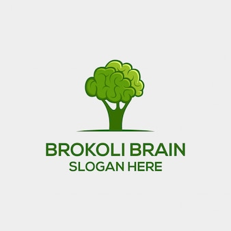 Broccoli and brain dual meaning logo concept