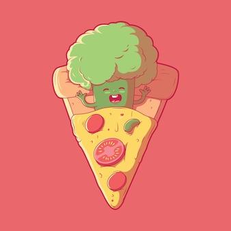 Broccoli character sleeping in a slice of pizza food