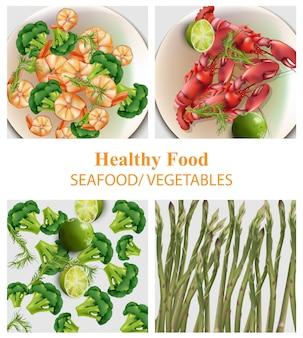 브로콜리, 게, 새우, 아스파라거스 현실적인 벡터를 설정합니다. 메뉴, 인쇄, 라벨, 전단지를위한 건강 식품