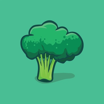 Broccoli icon isolated vector illustration with outline cartoon simple color