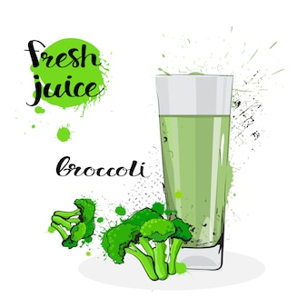 Broccoli juice fresh hand drawn watercolor vegetable and glass on white background