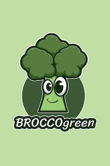 Брокколи логотип иллюстрации шаржа