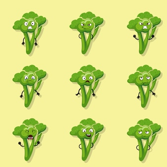 Брокколи отрицательные эмоции. векторный мультфильм набор символов стиля иллюстрации