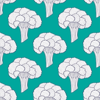 Broccoli seamless pattern on turquoise background