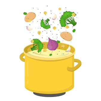 Broccoli soup ingredient for cooking at home. onion and garlic. homemade dinner or lunch.  illustration
