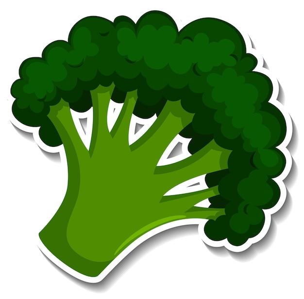 Adesivo broccoli su sfondo bianco