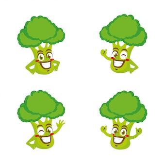 Брокколи овощи персонаж талисман мультфильма