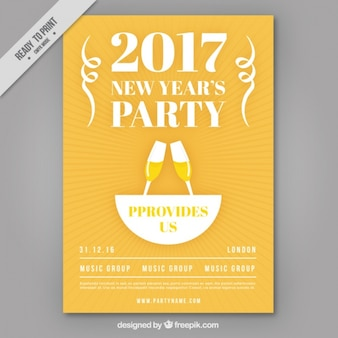 Brochure of 2017 new year's party with toast