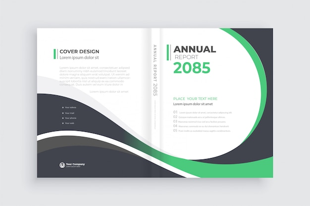 Brochure background with geometric shapes, book cover template open