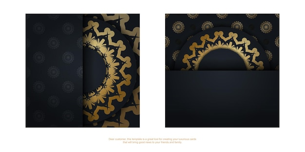The brochure in black with a vintage gold pattern is ready to print.