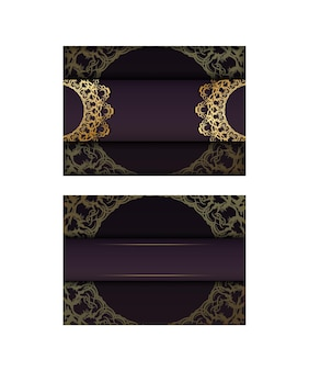 Brochure in burgundy color with abstract gold ornamentation is ready to print.