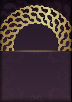 Brochure in burgundy color with luxurious gold ornamentation prepared for typography.