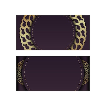 Brochure in burgundy color with vintage gold ornamentation is ready to print.